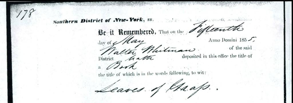 "Copyright registration certificate for Walt Whitman's ""Leaves of Grass."""