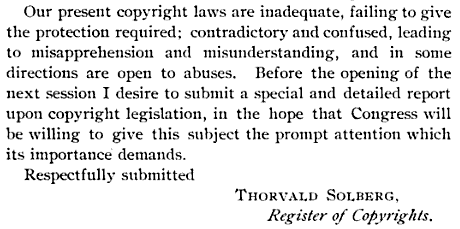 Thorvald Solberg recommendation for copyright law revision.